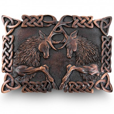 Chocolate Bronze Fighting Stags kilt belt buckle with Celtic knot work
