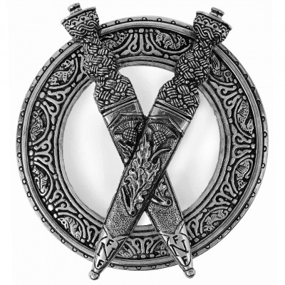 Crossed Scottish Dirks Plaid Brooch with richly detailed thistle and knotwork
