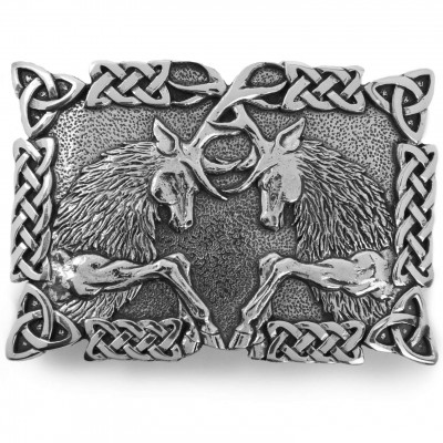 Fighting Stags kilt belt buckle with Celtic knot work