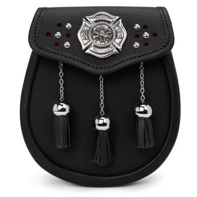 Firefighter leather day sporran with maltese cross.