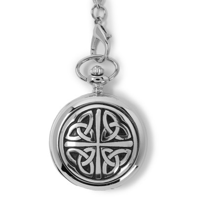 High-polish silver pewter case with bold Celtic knotwork