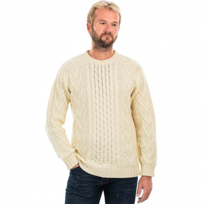 Celtic Cable-knit Aran sweater - Made in Ireland from 100%, 3-ply wool.