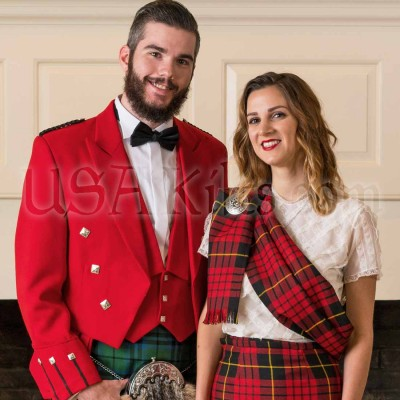 Wool Tartan Sash with matching Kilted Skirt