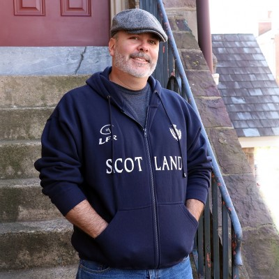 Navy Scottish Hooded Sweatshirt with Thistle and Rugby logo