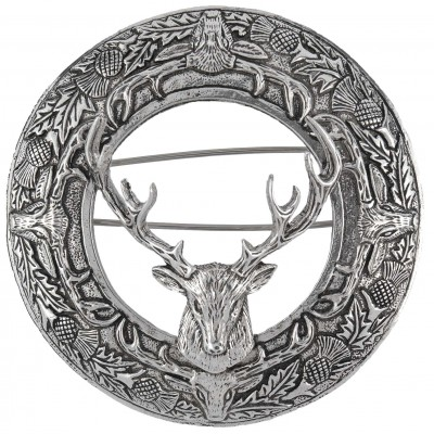 Stag Head Plaid Brooch with Scottish Thistle details