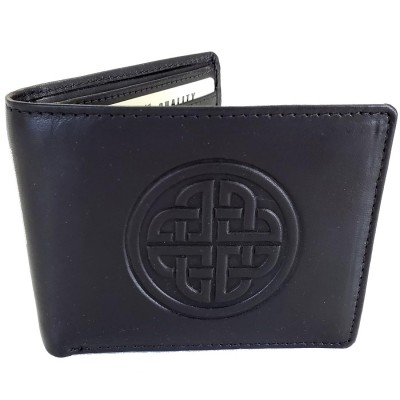 Conan Black Leather Wallet with Irish Knot Work