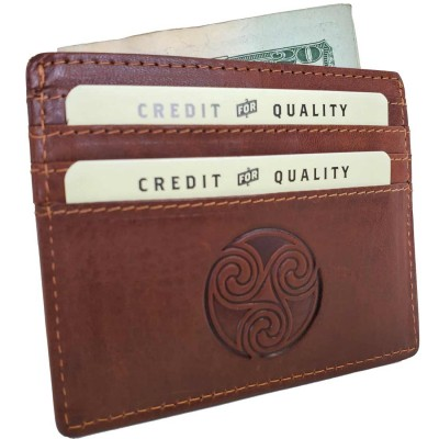 Triskele Tan Leather Card Holder Wallet