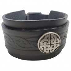 Men's Wide Double Strap Black Leather Cuff with Celtic Knot