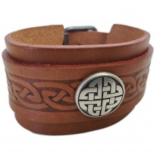Men's Wide Double Strap Tan Leather Cuff with Celtic Knot