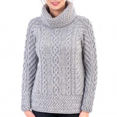 Cowl Neck Cable Knit Sweater - Heather Grey