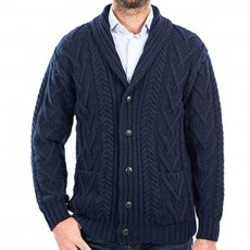 Quality knit button up cardigan with pockets made in Ireland. 100% Merino Wool.