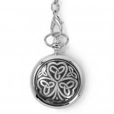Shamrock Pocket Watch - Cast Pewter Shamrock & Celtic knotwork Trinity knots