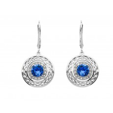 Sterling Silver Celtic Blue Halo Earrings Adorned With Swarovski Crystals (SW191)