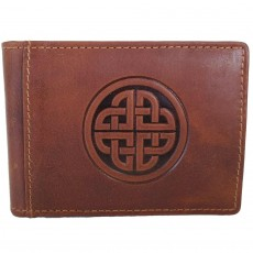 Celtic Knot Tan Leather Wallet with Money Clip