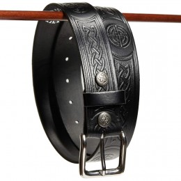 Celtic Knot Work Leather Belt Detail