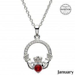 "Birthstone Claddagh Necklace on 20"" (SW101)"