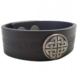 Men's Craig Black Leather Cuff with Celtic Knot
