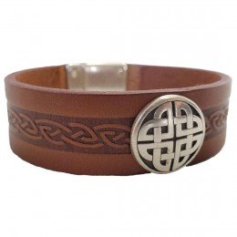 Men's Craig Tan Leather Cuff with Celtic Knot