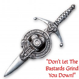"""Motto: """"Don't Let the Bastards Grind You Down!"""" in Latin"""