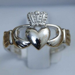 Handmade in Ireland, this large, sturdy men's sterling silver Claddagh shows your Irish heritage.
