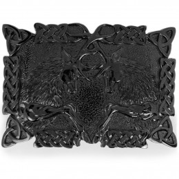 Graphite Fighting Stags kilt belt buckle with Celtic knot work