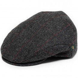 Irish Flat Cap Charcoal Herringbone with red overcheck