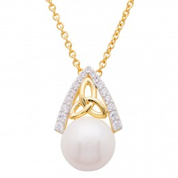 14KT gold vermeil Celtic Trinity knot with lustrous pearl and Swarovski® gems!