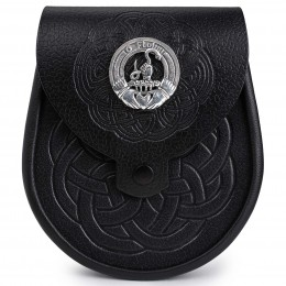 Irish Clan Crest Embossed Leather Day Sporran
