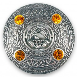 Irish Clan Crest Plaid Brooch - Dozens of names. Your choice of stone color!