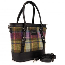 Rich violet and green plaid tweed handbag made in Co. Kerry, Ireland