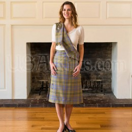 Wool Tartan Kilted Skirt with Sash
