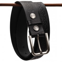 Premium Embossed Celtic Knot Jeans Belt - Black