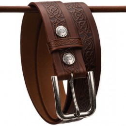 Premium Embossed Celtic Knot Jeans Belt - Brown
