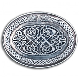 Lion Heads Warrior's Shield Knot Belt Buckle