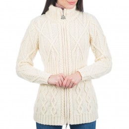Timeless style for chilly mornings - the Erin full zip Irish wool sweater