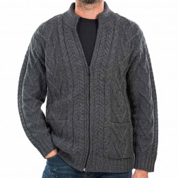 Quality knit full zip cardigan with pockets made in Ireland. 100% Merino Wool.