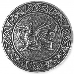 Hefty pewter Welsh Plaid Brooch features the Welsh heraldic dragon