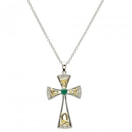 Celtic Trinity Emerald and Diamond Cross (SF15)