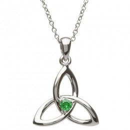 Sterling Silver w/ Green CZ Trinity Pendant Necklace (SP2053GR)