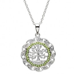 Tree of Life w/ Green Swarovski Pendant Necklace (SW110)