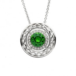 Sterling Silver Celtic Halo Pendant with Swarovski Crystals (SW165)