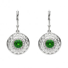 Sterling Silver Celtic Halo Earrings Adorned With Swarovski Crystals (SW166)