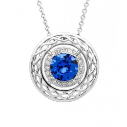 Sterling Silver Celtic Blue Halo Pendant with Swarovski Crystals (SW192)