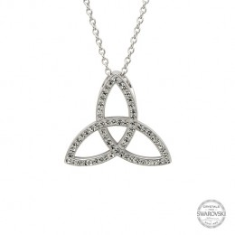 Sterling Silver Trinity Knot Necklace Embellished with Swarovski Crystals (SW41)