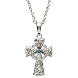 Sterling Silver Celtic Cross with Swarovski Crystals (SW65)