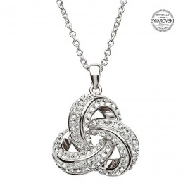 Sterling Silver Trinity Necklace w/ Swarovski Crystals (SW97)