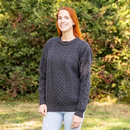 Cozy authentic Aran knit sweater is made in Ireland from 100% natural wool!