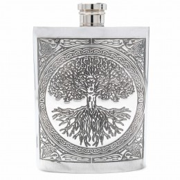 Celtic Tree of Life Pewter Flask with amazing detail!