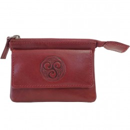 Aisling Red Leather Coin and Key Pouch