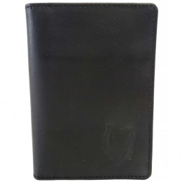 Black Leather Passport Cover with Irish Harp